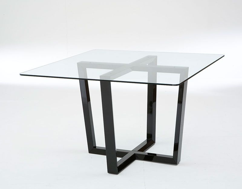 Wonderful 55 Glass Top Dining Tables With Original Bases : 55 Glass Top Dining  Tables With Square Glass Table And Black Glossy Legs