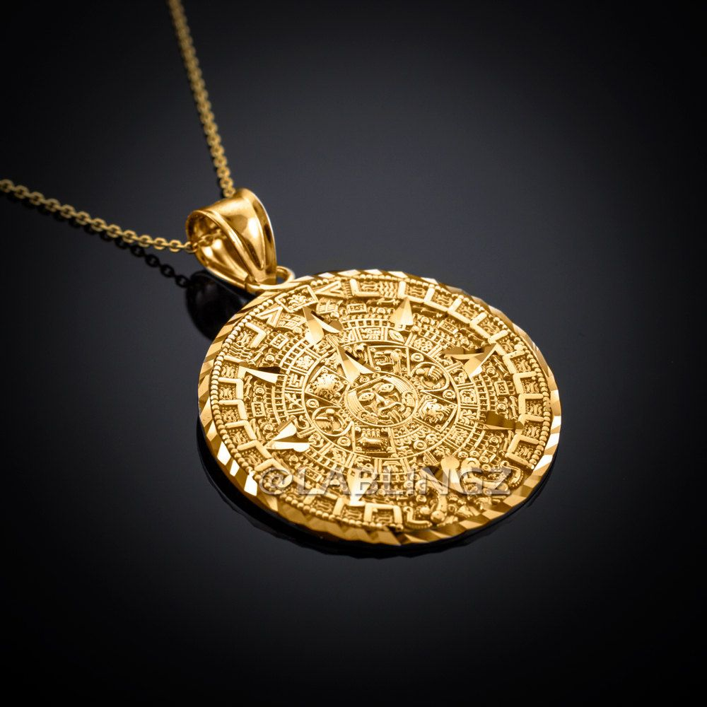 10k Gold Aztec Mayan Sun Calendar Pendant Necklace Yellow Etsy Aztec Jewelry Gold Jewelry Simple Necklace Gold Jewelry Fashion