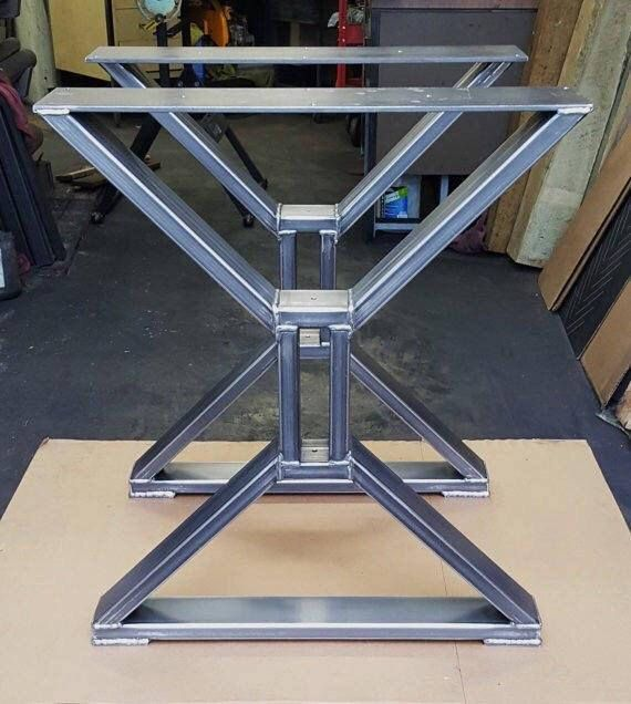 Set of Two X Metal Table Legs Iron Table Legs Steel Table Legs Modern Table Legs Industrial Metal Table Legs  Mobilya  Steel table legs