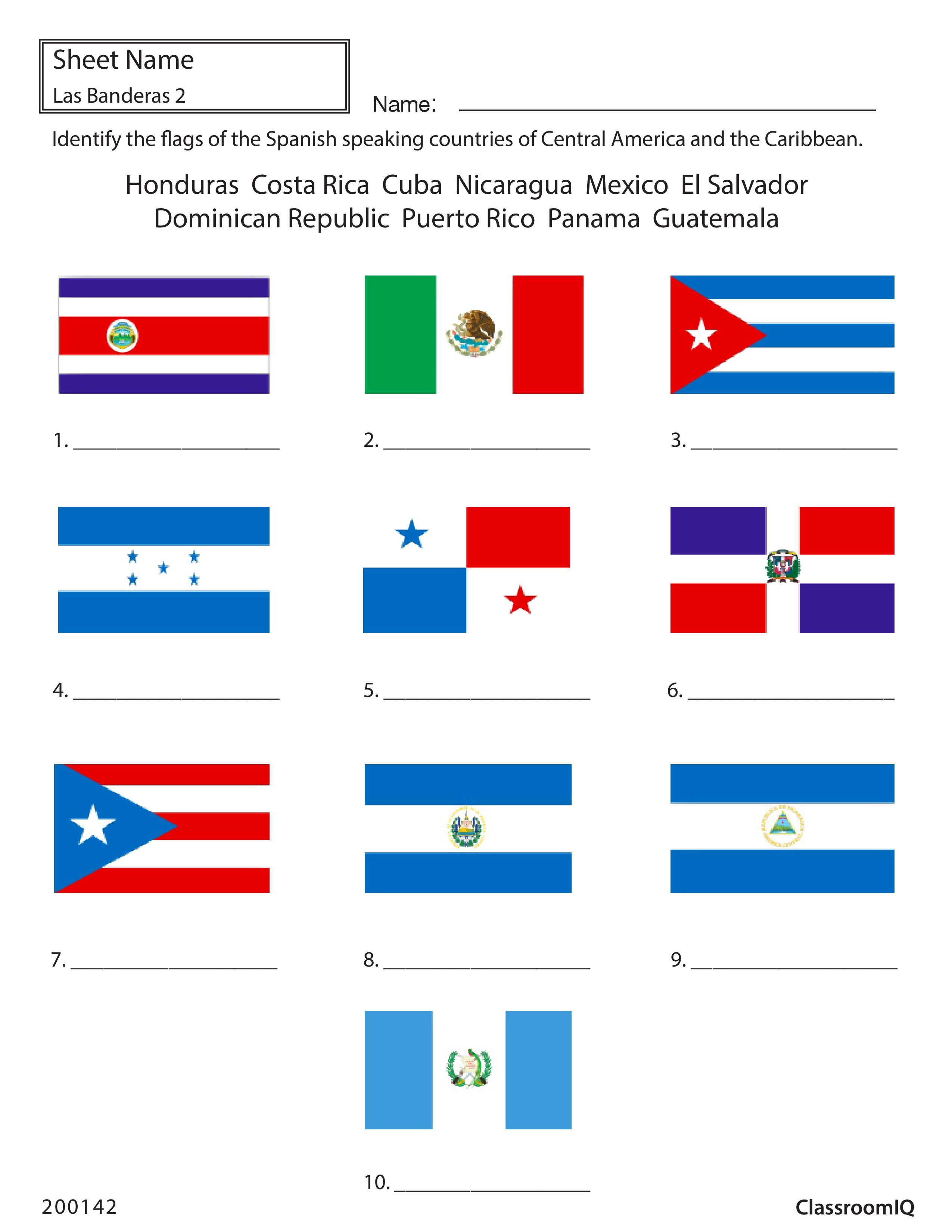 identify flags of spanish speaking countries spanishworksheet newteachers printable spanish. Black Bedroom Furniture Sets. Home Design Ideas