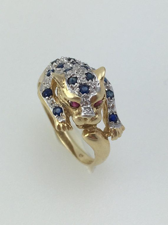 ring leopard heads or panther with stones