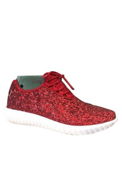 b0a46b344d7c *Red Glitter Bomb Sneakers Tennis Shoes Lace Up Flats Comfortable Designer  Women