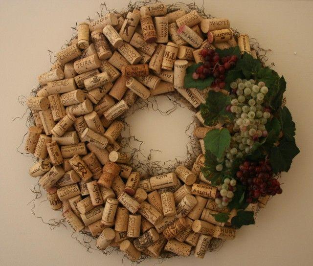 Wine Decor - Cork Wreath with Grapes
