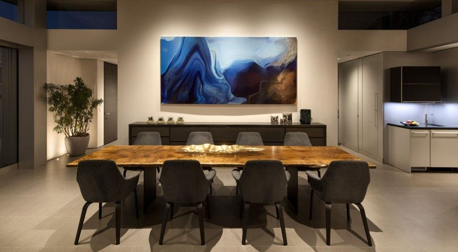 A Well Balanced House Design With Enchanting Panoramic View Of Laguna Beach : Interior Design With Black Chairs And Wooden Table Painting Also Marble Floors And Cabinet