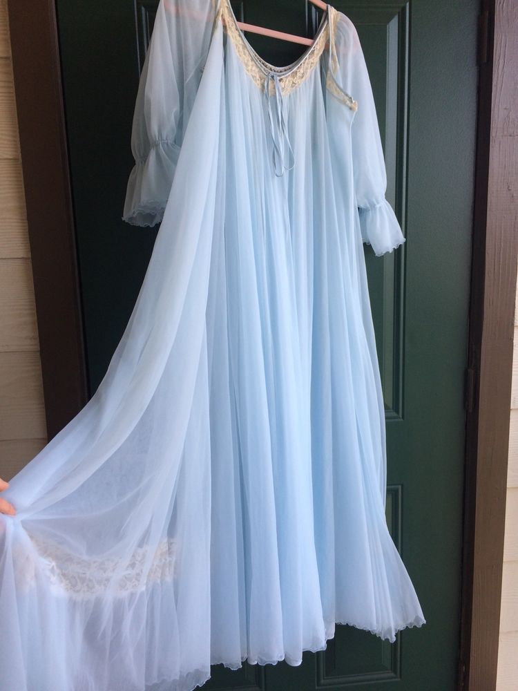 5bcfeab6d8 1960s BABY BLUE Intime Peignoir Set M Chiffon Nightgown Robe Dress Vtg  Lingerie  Intime