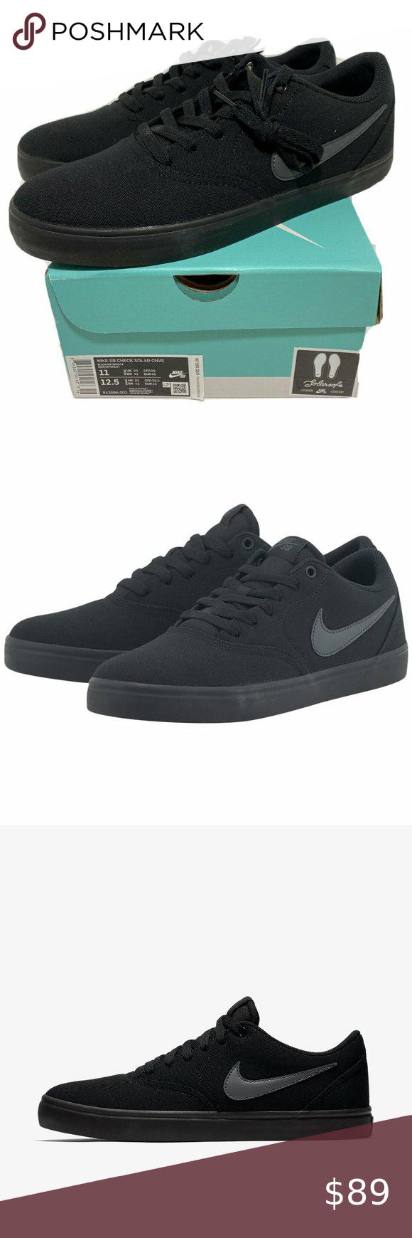 Nike Sb Check Solar Canvas Skateboard Shoes Nib Nike Sb Check Solar Canvas Skateboard Shoe Triple Black 843896 002 Mens Size 11 Condi Nike Nike Sb Black Nikes