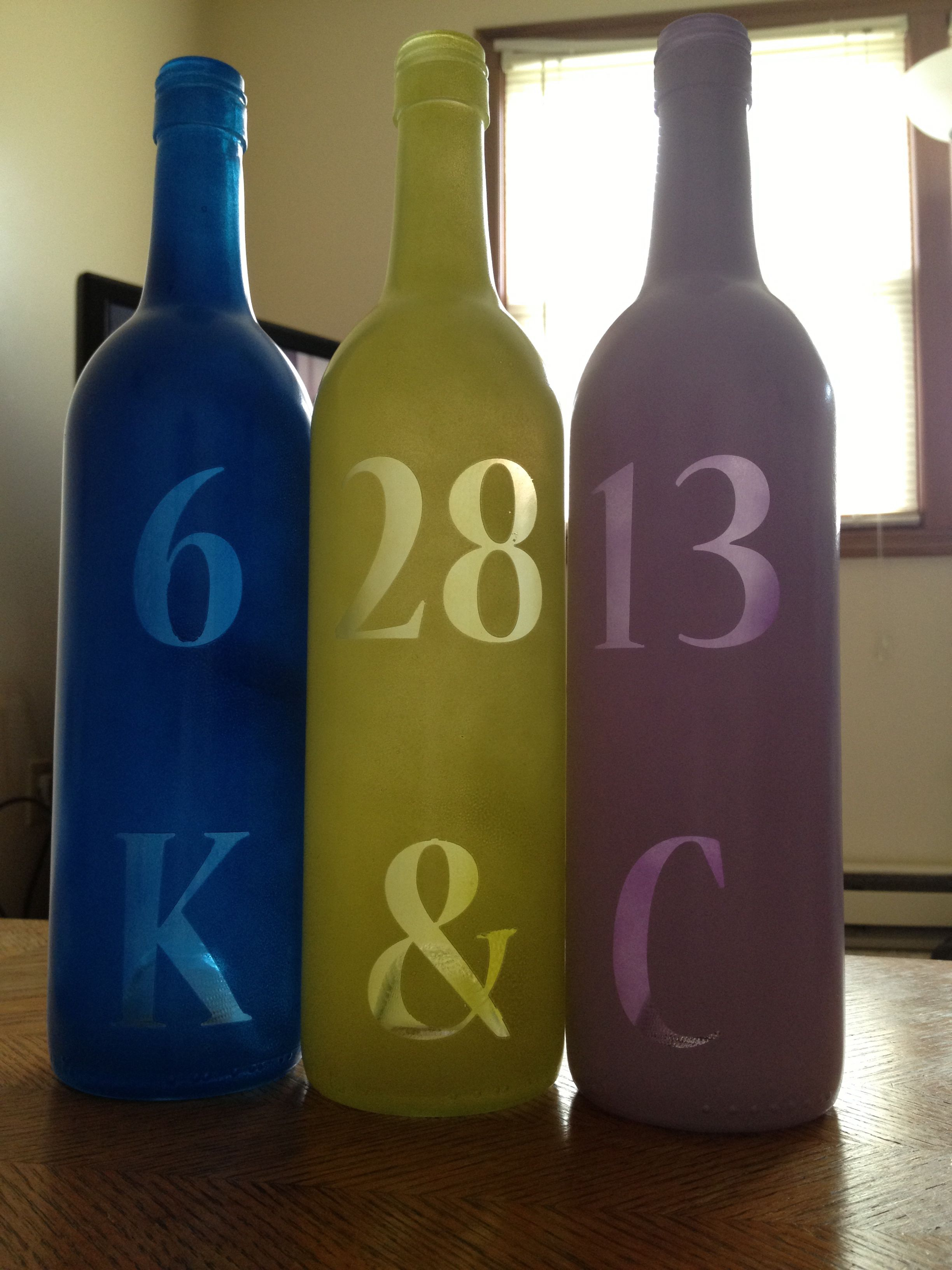 Wedding Decorations Re Wedding Gift Re Used Wine Bottles Wedding Date Initials Of The