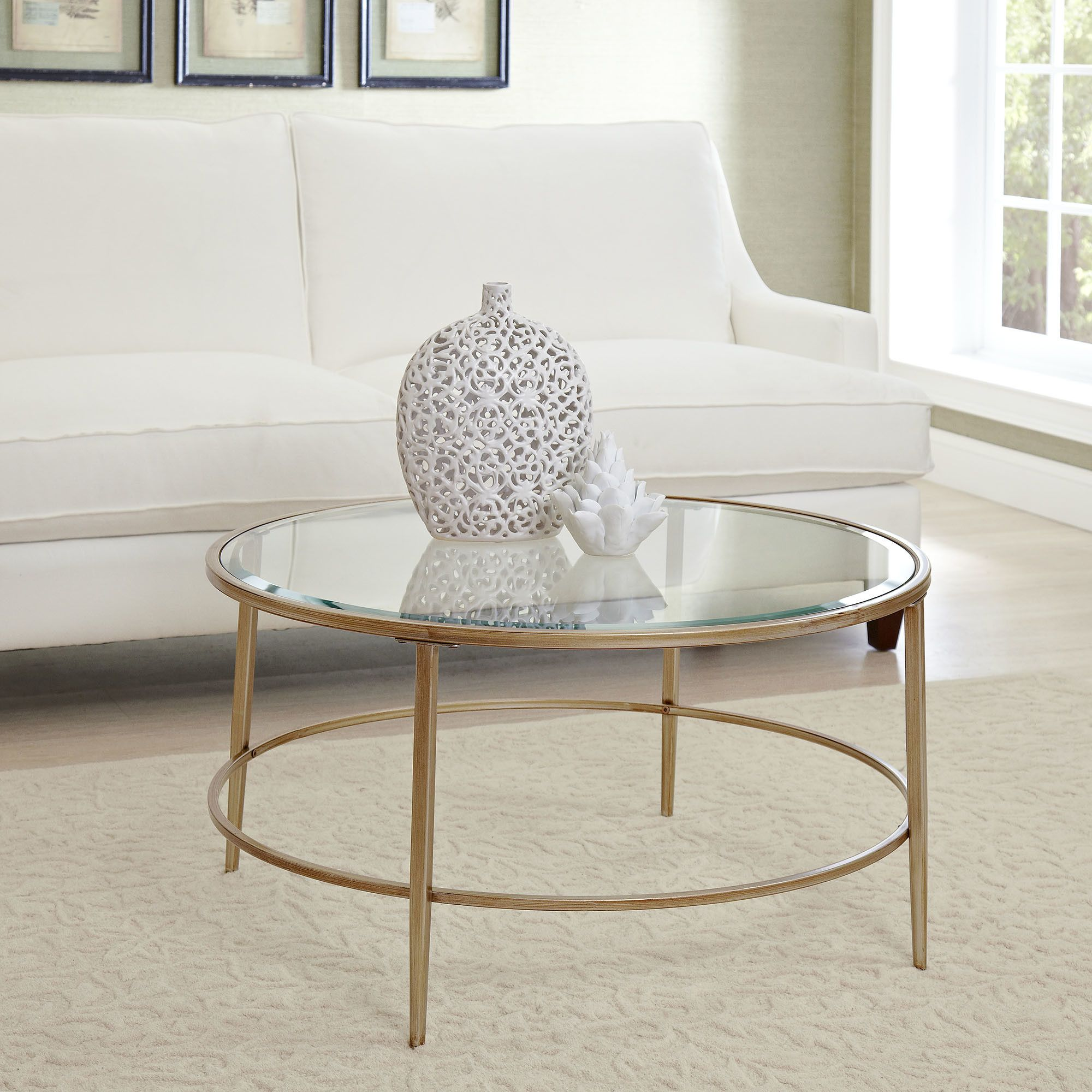 Glass coffee table in living room birch lane nash round coffee table  birch lane  decorating