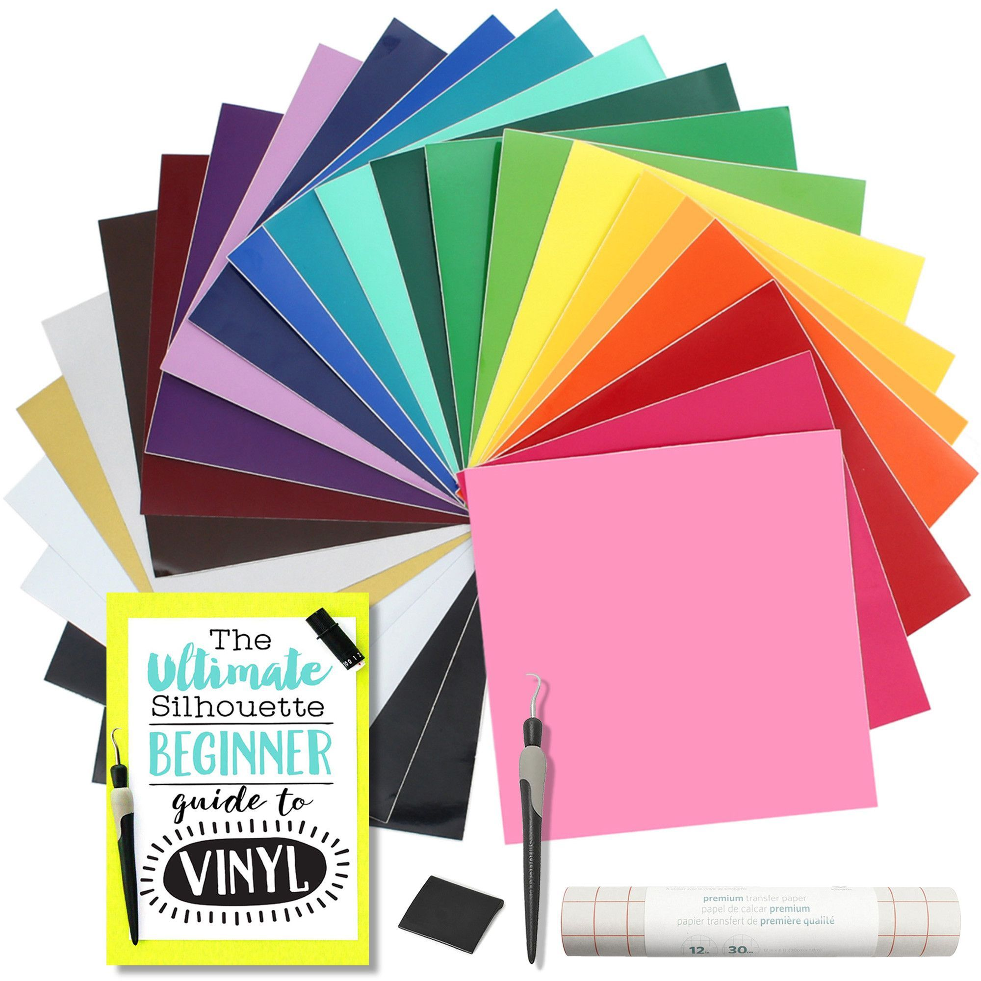 Oracal 651 Glossy Vinyl Bundle With Accessories 12 X 12 24 Assorted Colors Silhouette Cameo Vinyl Layered Vinyl Transfer Paper