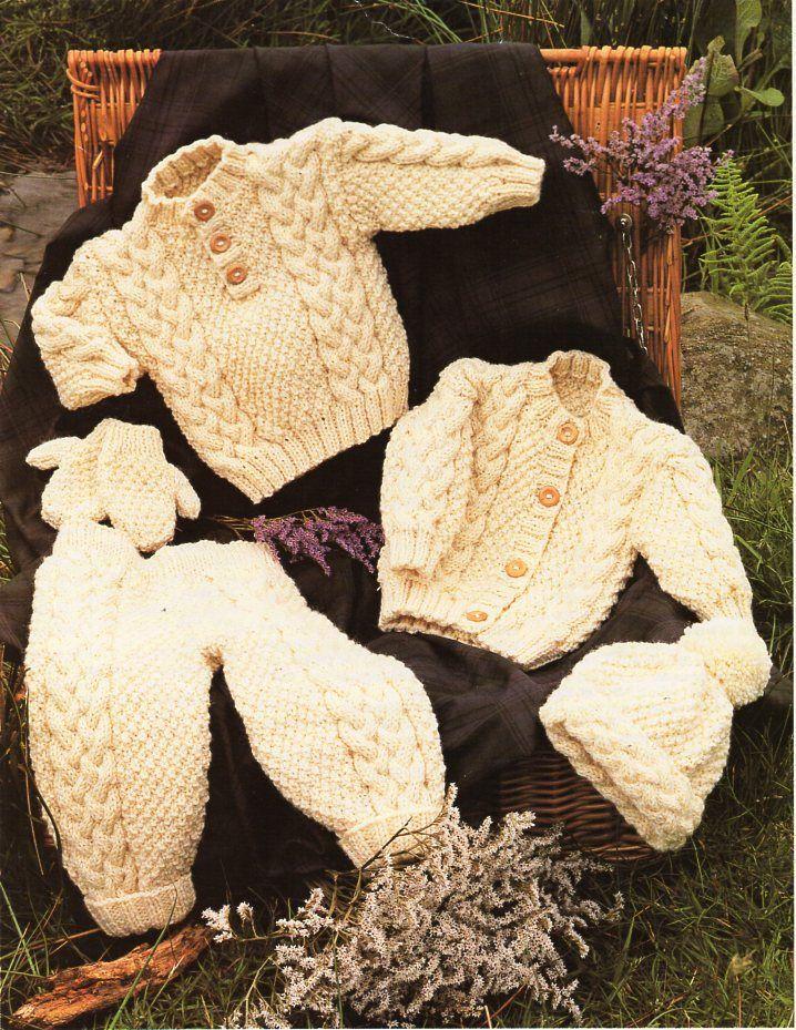 Aran Baby Pattern Cardigan,Pants,Blanket,Scarf,Hat,Mitts !