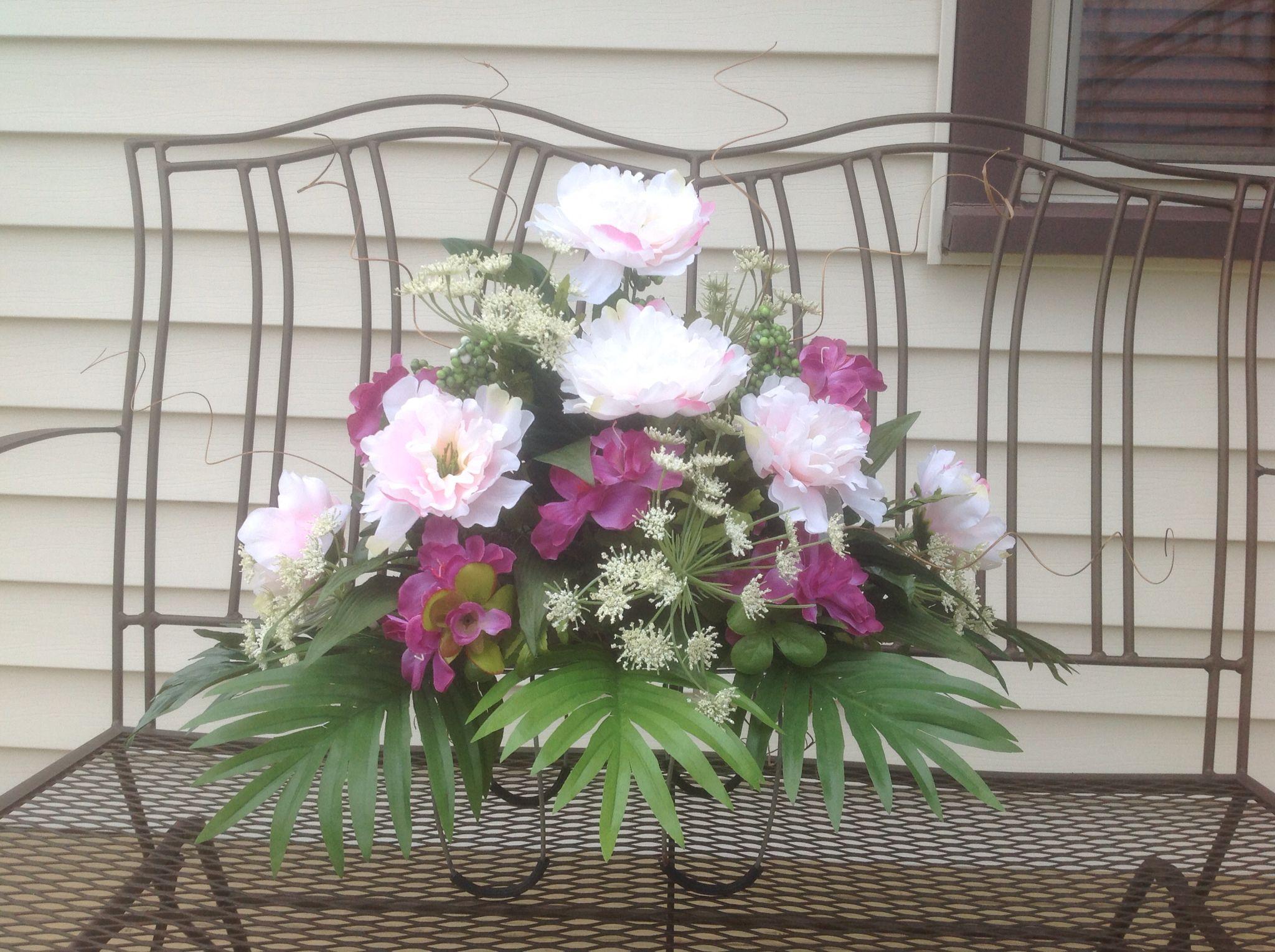 Cemetery Saddle Silk Flower Design Arrangement Pink Peonies Purple
