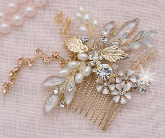 Photo of Wedding Hair Comb Rose Gold Floral Headpiece Opal Gold Comb Pearl Bride Hairpiece Rhinestone Hair Clip Bridal Accessories Vintage Comb
