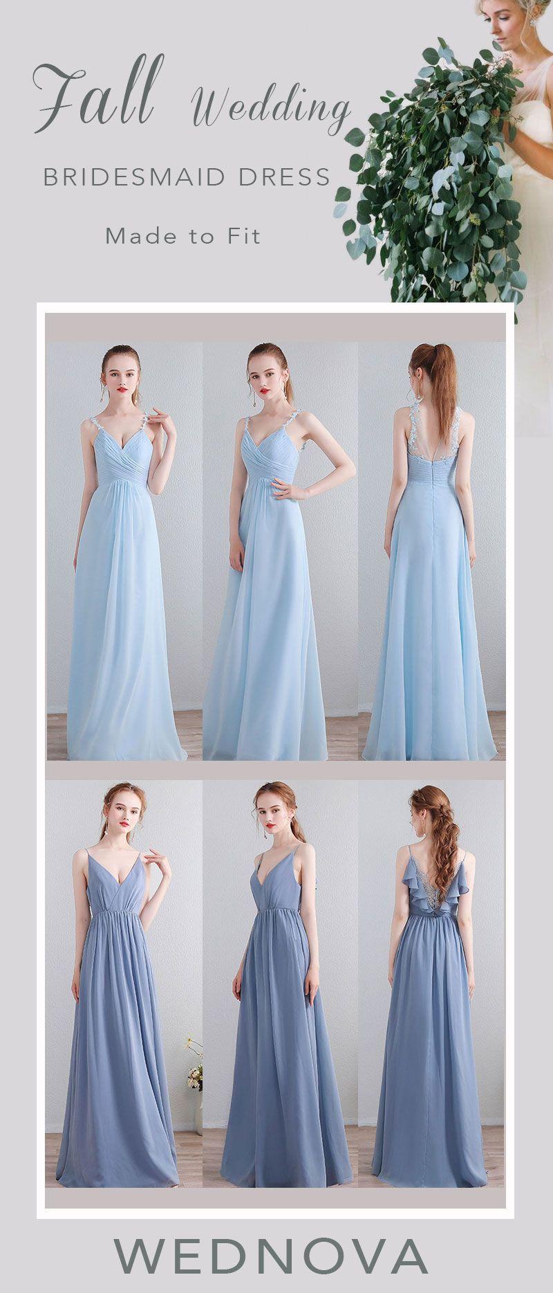 unique blue chiffon bridesmaid dress lace spaghetti straps