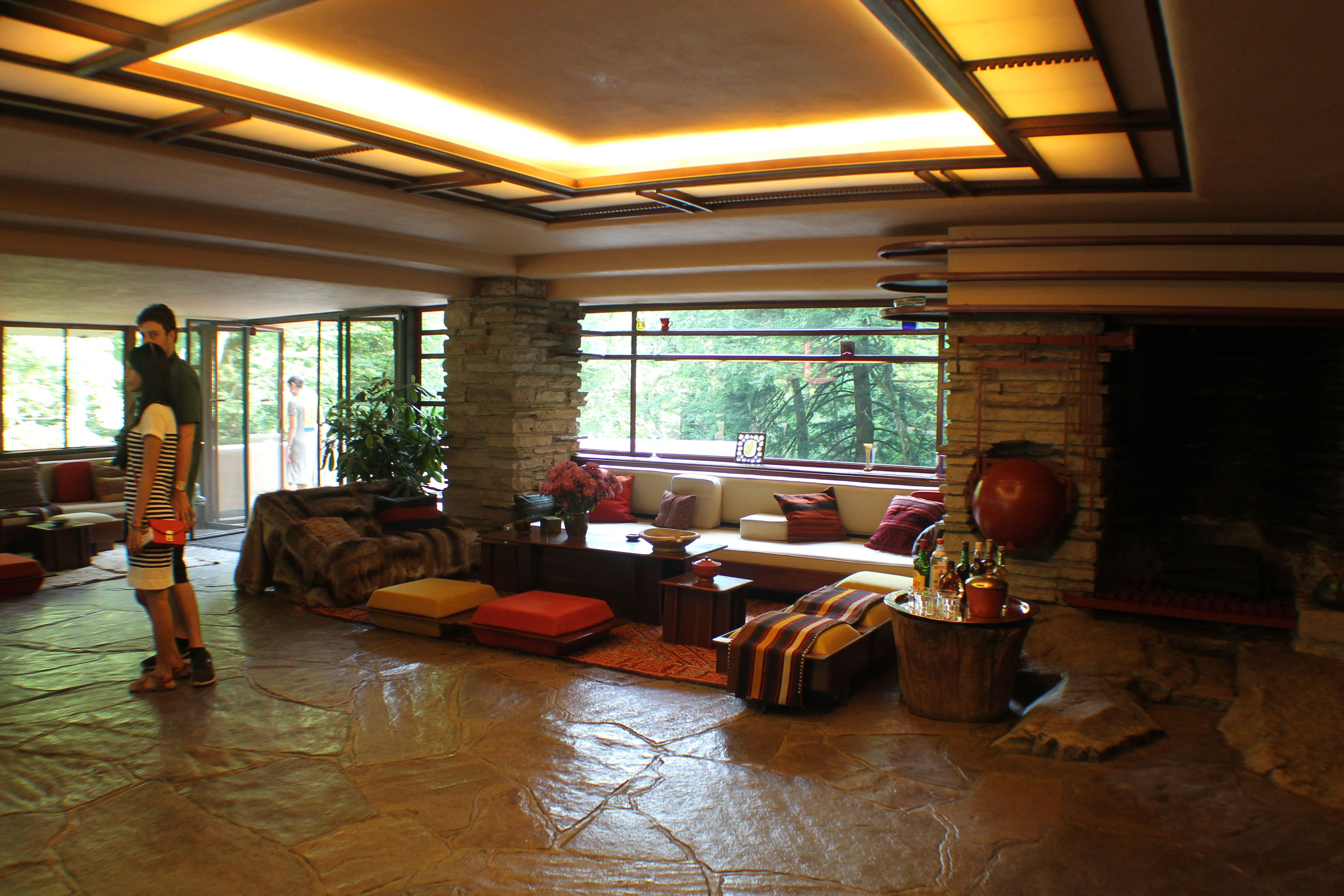 Interior decoration viewing gallery for frank lloyd wright falling water house interior glubdubs