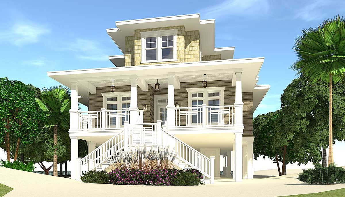 4 Bed Piling Home Plan With Great Views   44137TD | 1st Floor Master Suite,
