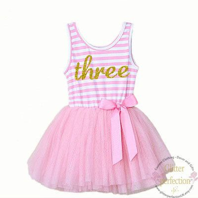 Third birthday three year old baby girls tutu dress party outfit 3rd