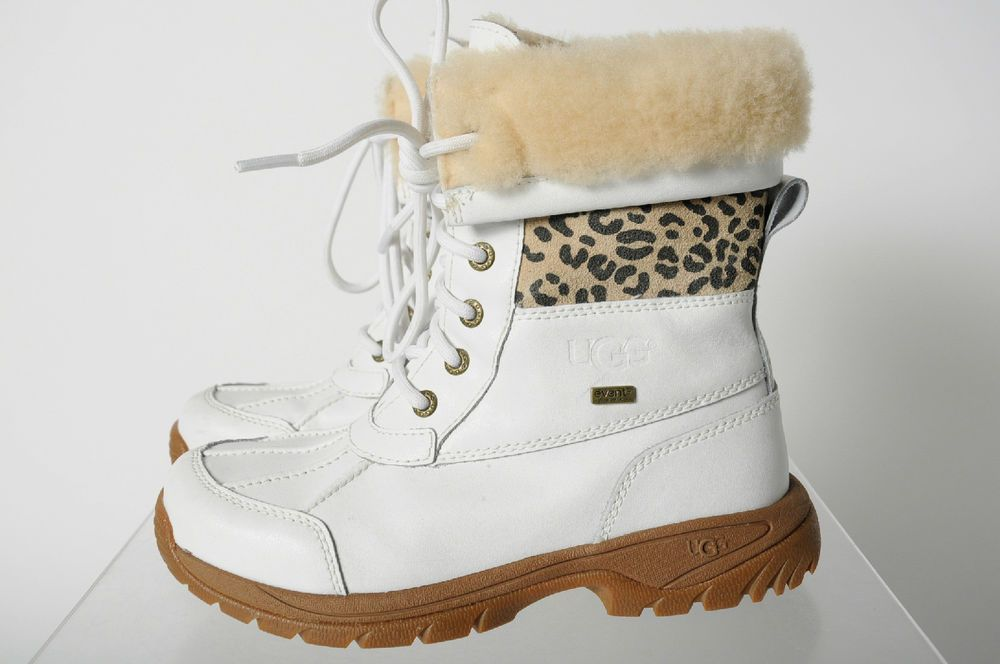 e3ea2e2020a Ugg White Leather Cheetah Print Strip Shearling Winter Snow Boots 3 ...