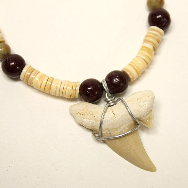 Fossilized Shark Tooth Shell Heishi Necklace
