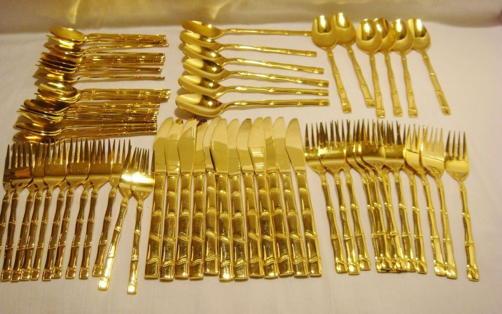 72 Pc Quot Bamboo Quot Flatware Set For 12 Gold Plated Stainless