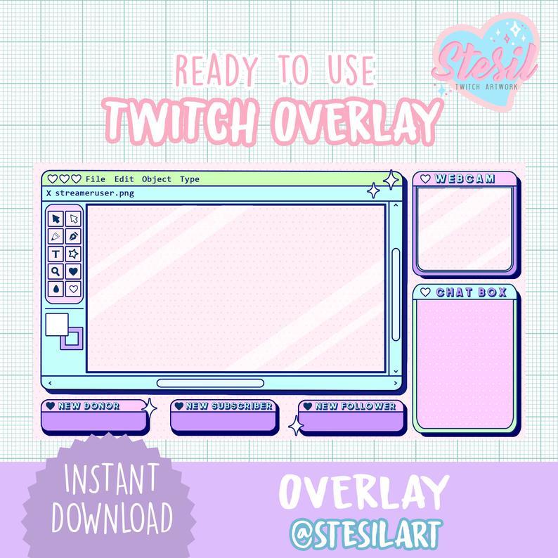 Twitch Overlay / Aesthetic / Kawaii / Streamer / Paint / Vintage / Pastel / Streamer Graphics
