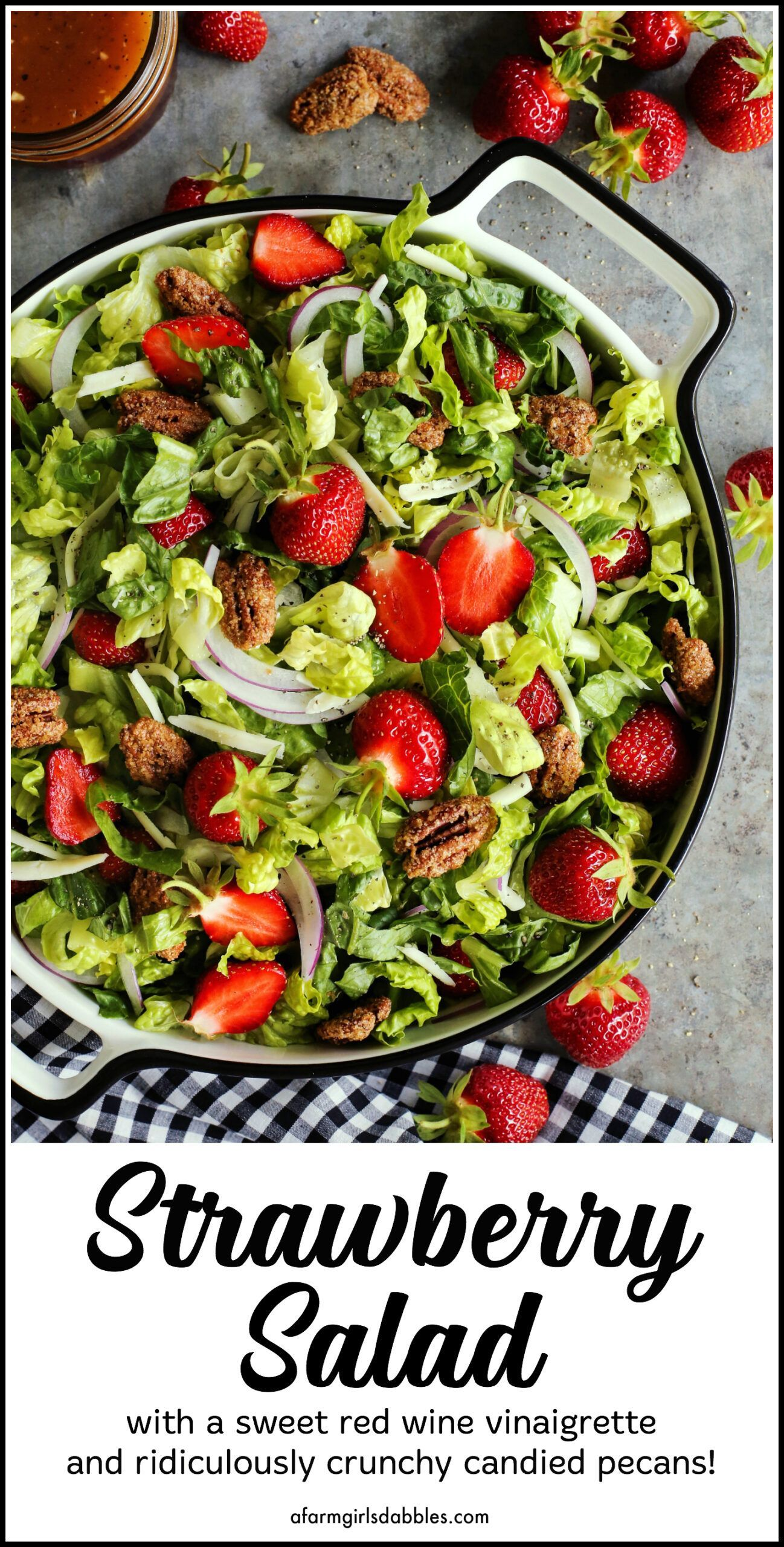 Strawberry Salad With Red Wine Vinaigrette An Easy Summertime Salad Recipe Strawberry Salad Yummy Salad Recipes Strawberry Salad Recipe [ 2560 x 1298 Pixel ]