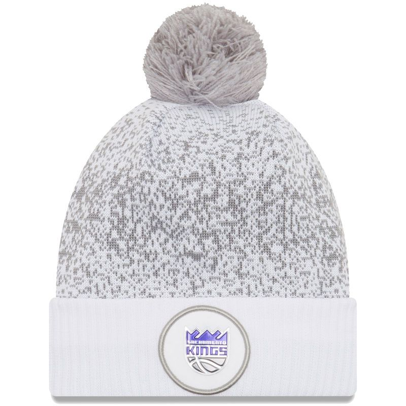 949d5778240 Sacramento Kings New Era On-Court Cuffed Knit Hat With Pom - White ...