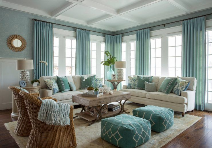 Teal And Aqua Living Room With Wicker Detailodern Accents