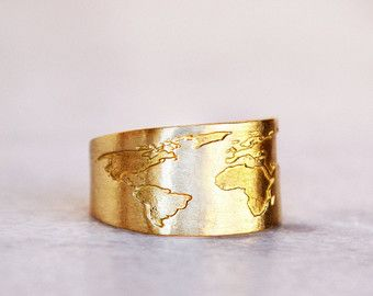 Charming Travel Ring / Wanderlust / Globe Ring / World Map Ring / Travel Gift /  Travel Jewelry / Inspirational /Handmade Ring / Rings / Map / Fernweh