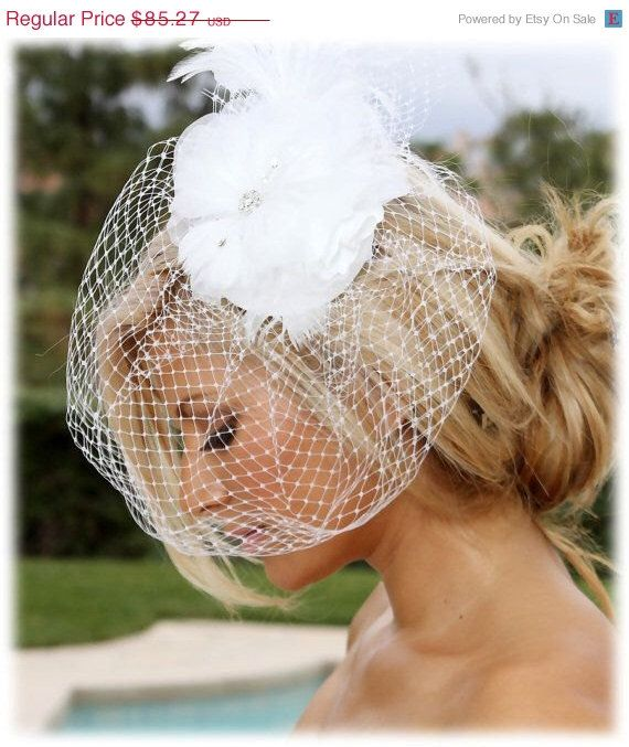 A personal favorite from my Etsy shop https://www.etsy.com/listing/212515133/bridal-birdcage-fascinatorbridal