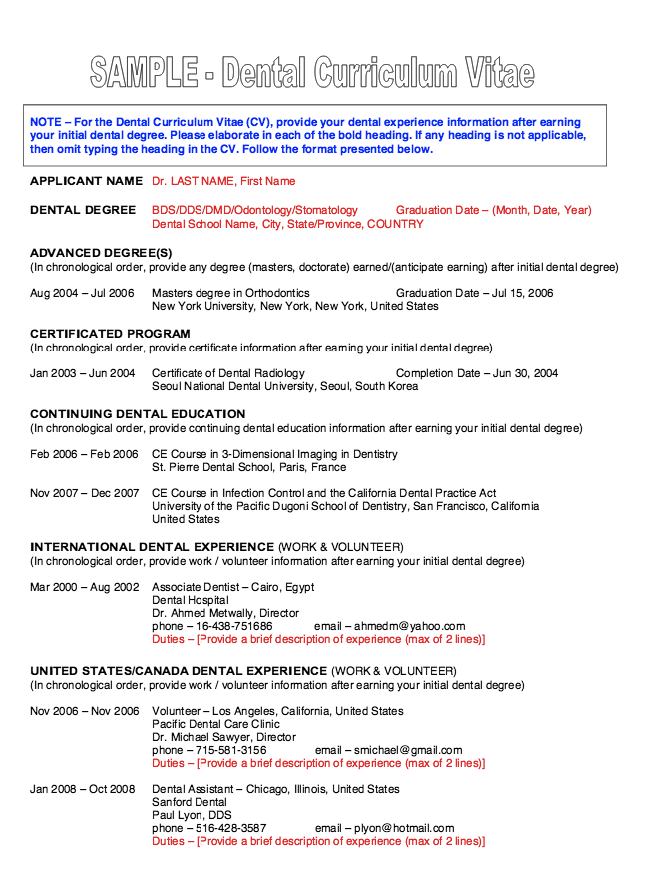 this examples dental resume cv we will give you a refence start on building resume you can optimized this example resume on creating resume for your job - Ce Resume