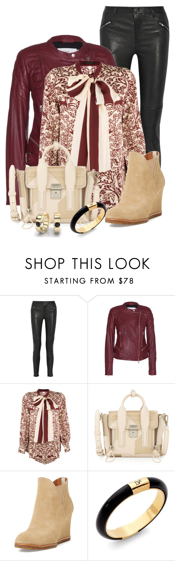 """""""Bow & Leather"""" by feelgood35 ❤ liked on Polyvore featuring BLK DNM, Closed, Mother of Pearl, 3.1 Phillip Lim, Bettye Muller, Diane Von Furstenberg, bow, Leather, leatherpants and ankleboots"""