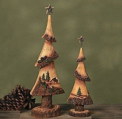 2 Pc Northwoods Cabin Decor Rustic Christmas Tree Decorative Accent