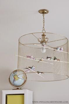 DIY birdcage light- such a fun and eclectic idea for a light fixture!  perfect
