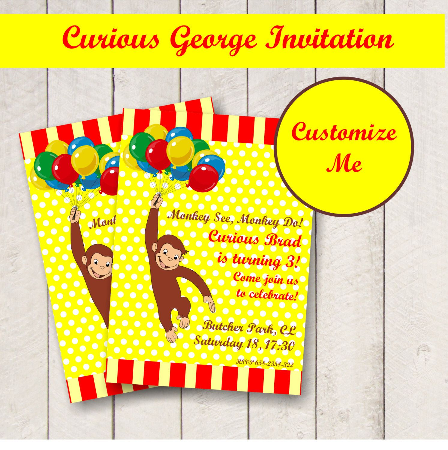 EDITABLE CURIOUS GEORGE party invitation, personalized birthday ...