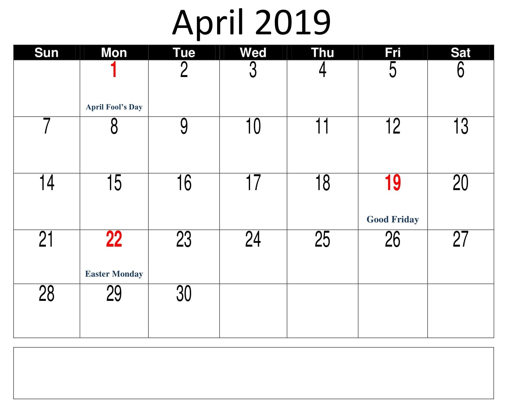 Printable April 2019 Holidays Calendar Holiday Calendar