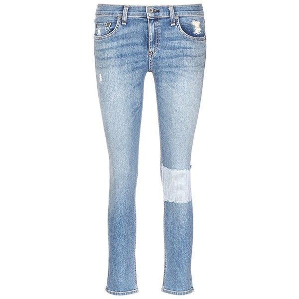 Rag & bone/jean 'Tomboy' stripe patch distressed slim fit jeans (350 CAD) ❤ liked on Polyvore featuring jeans, blue, patched jeans, destroyed denim jeans, slim fit denim jeans, denim jeans and distressed jeans