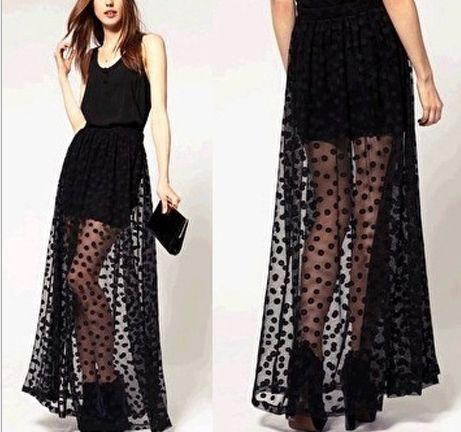 f0284728aa Cheap 2015 maxi largo faldas para mujer gasa negro de moda para mujer  transparente tulle grunge punto recto ropa falda sexy saias longa