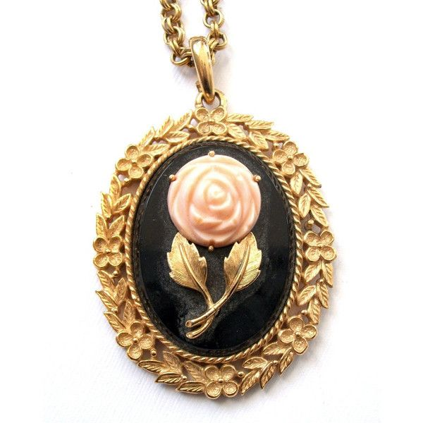 Vintage Black and Gold Floral Mirror Pendant Necklace Vintage AVON