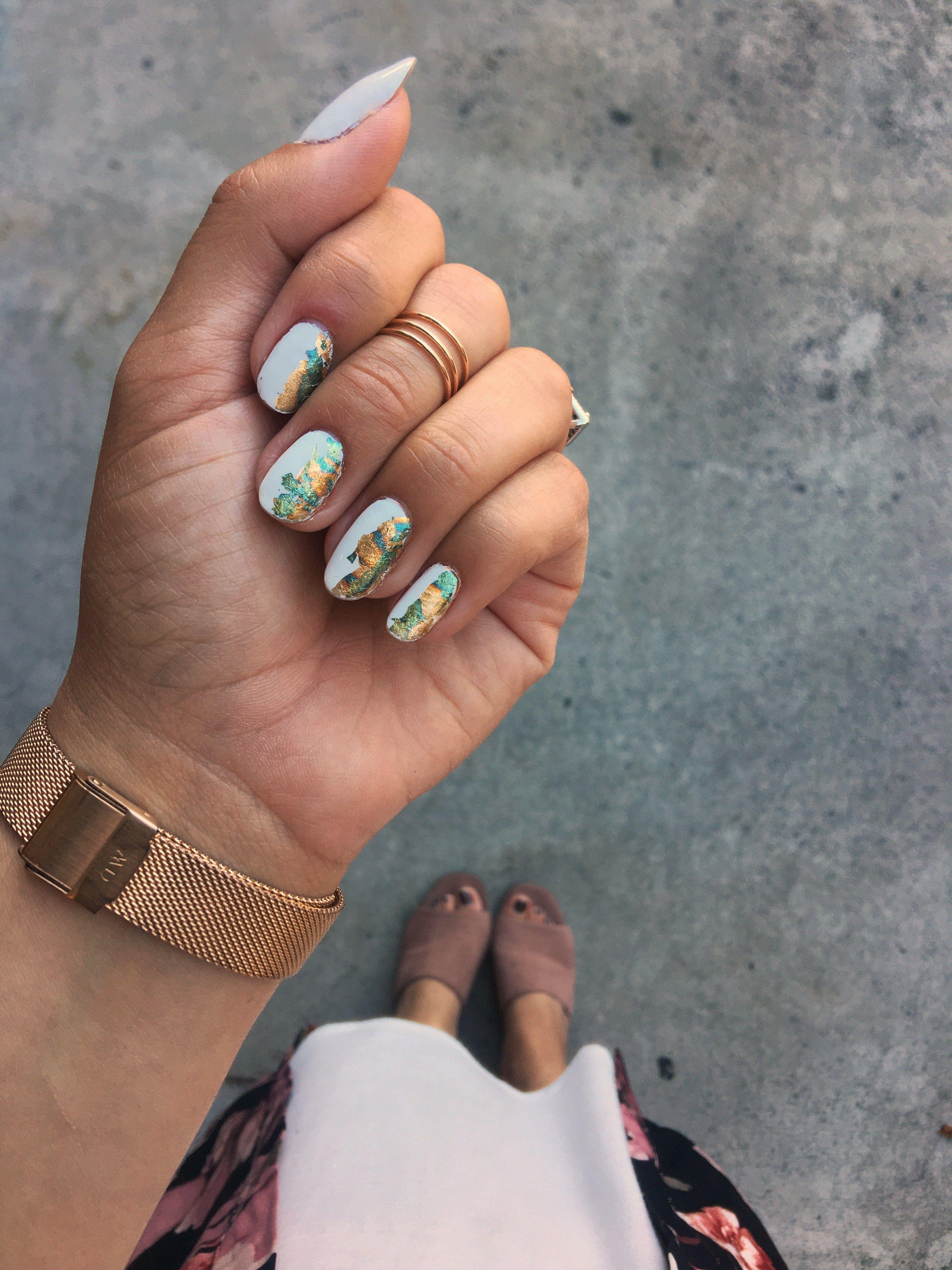 Half & Half Foil Nail Art | Foil nails, Metallic nails and White nails