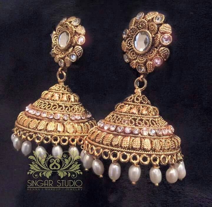 Exquisite Pair of Golden Jhumki Earrings Studded with Fine Quality ...