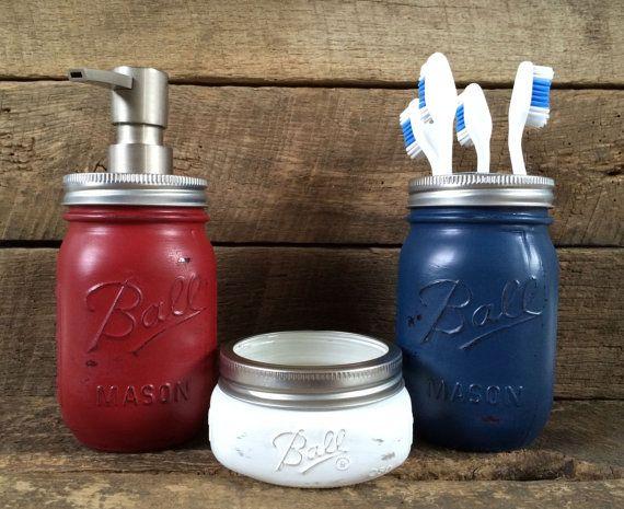 Red White Blue Mason Jar Soap Dispenser Bathroom By Masonmesmile