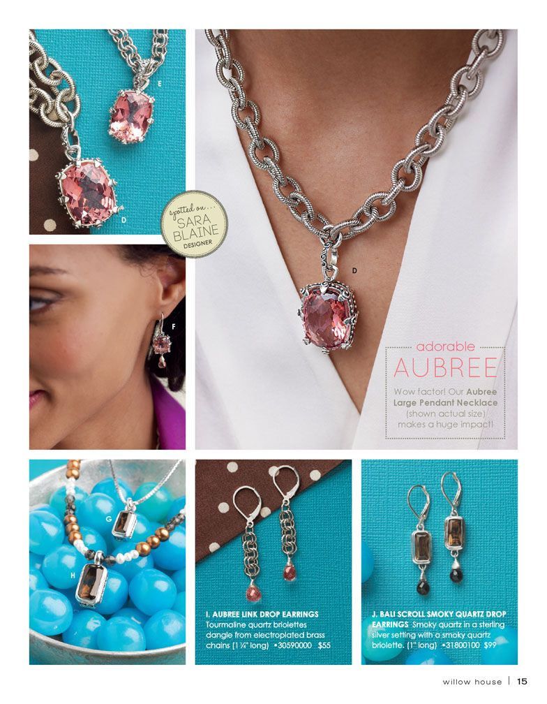 I am absolutely in love with the luscious corally pink hue of our tourmaline quartz! 17- carat mosaic-cut stone. Electroplated brass box-link chains are made in America  www.amysills.willowhouse.com