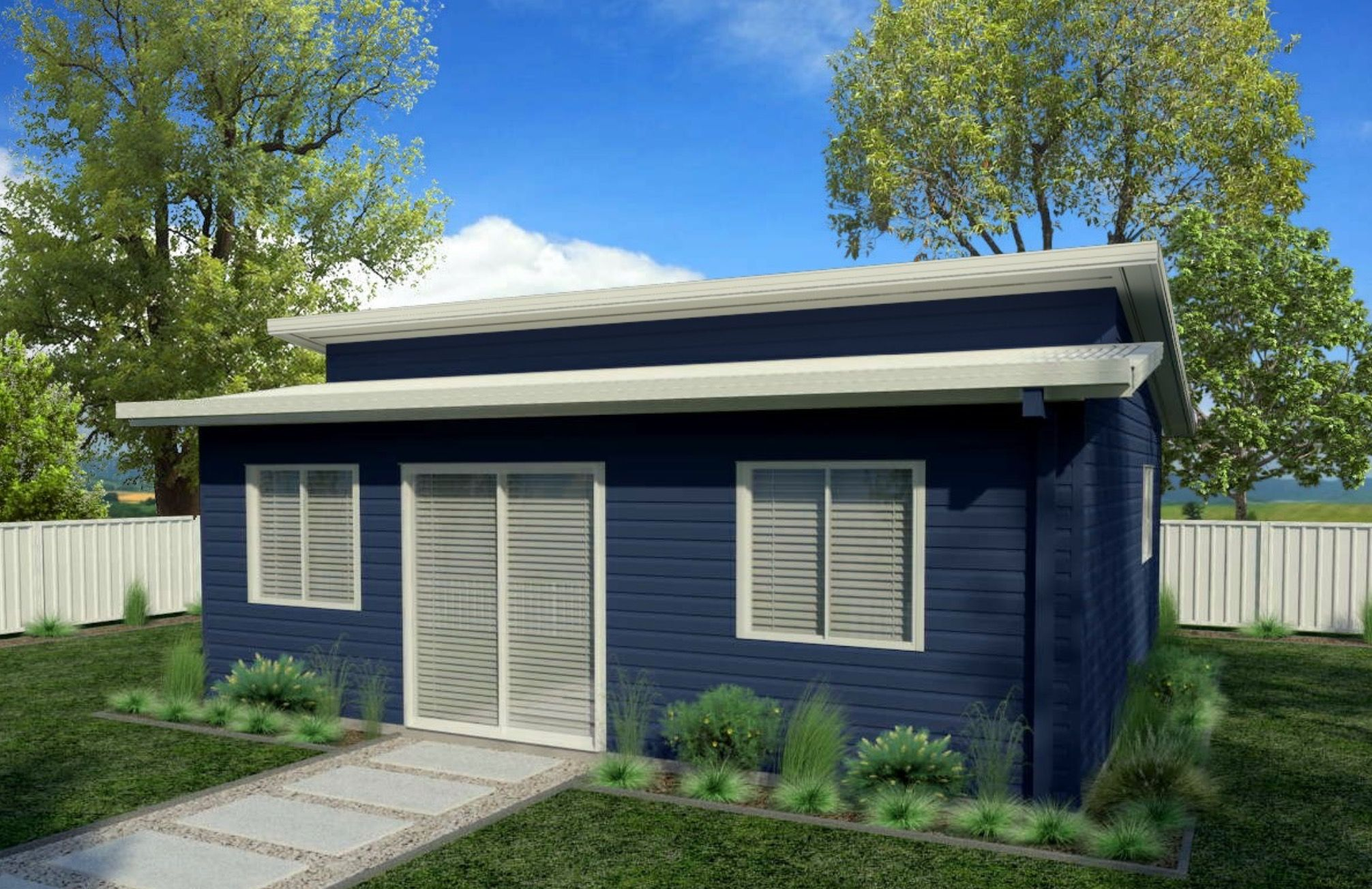 Our Pinnacle design features a double skillion roof, shown