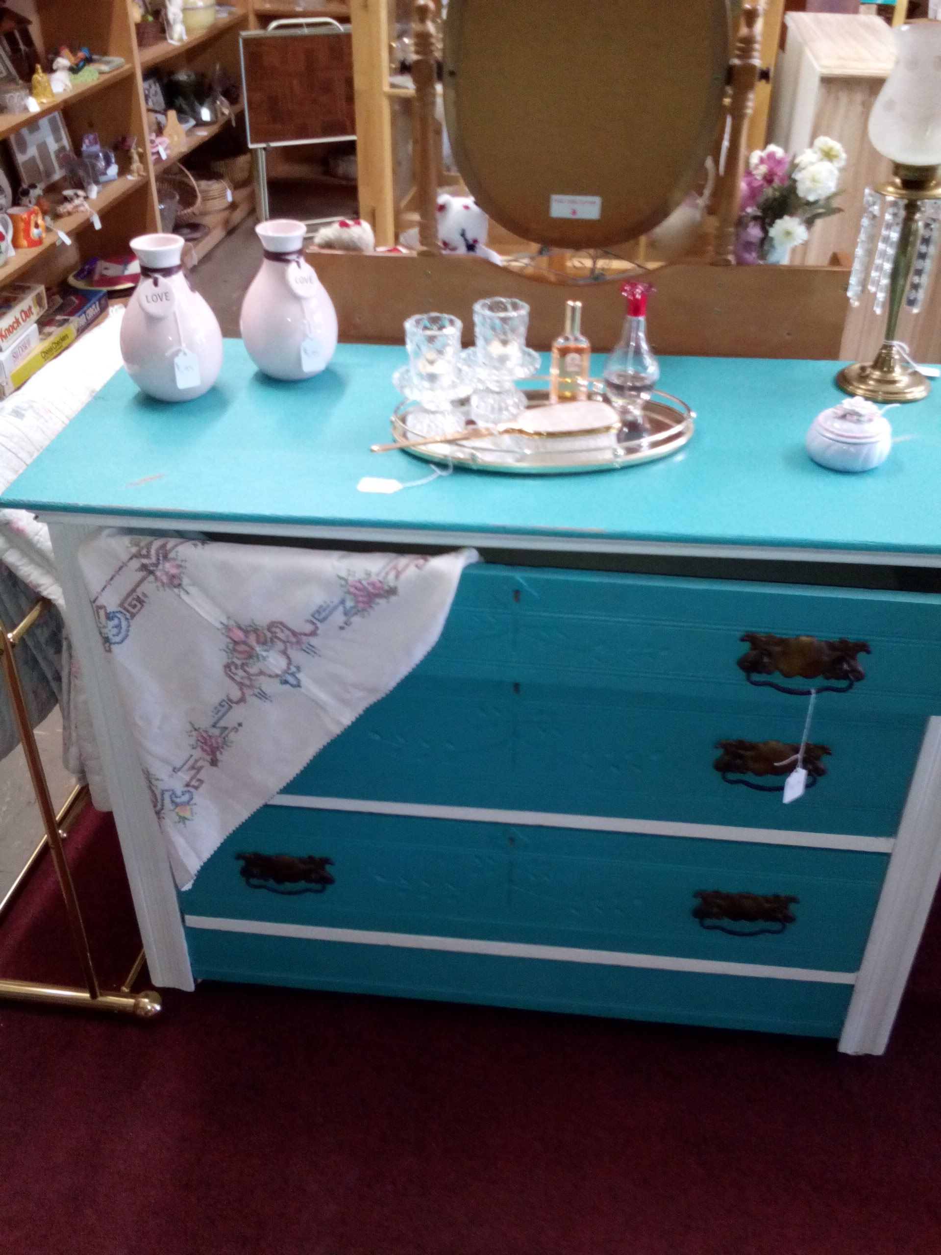 This dresser was a challenge, but it turned out great, almost hate to sell it. But I can't keep anything I redo. $150.00