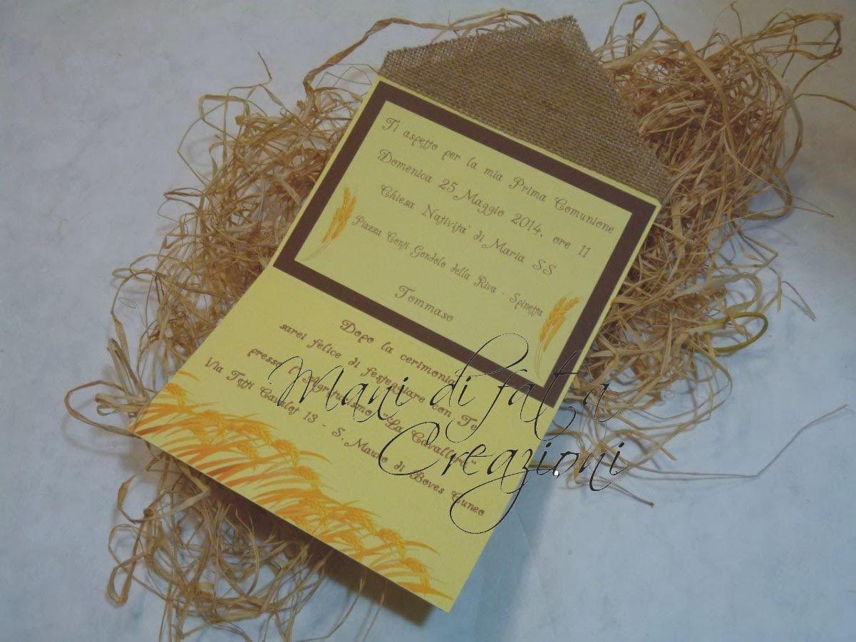 Invito Matrimonio Rustico : Mani di fata creazioni invito prima comunione cresima