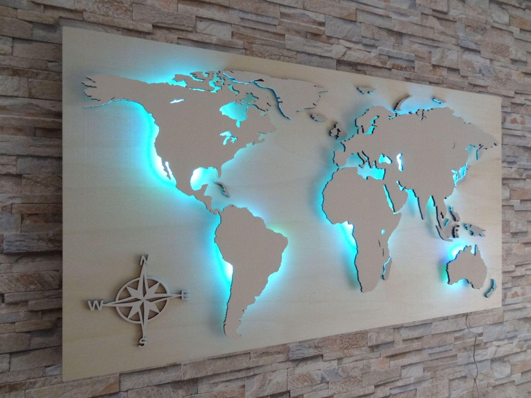 Weltkarte Aus Holz Led Beleuchtung Kompass In 2020 Weltkarte Aus Holz Weltkarte Kunst Weltkarte