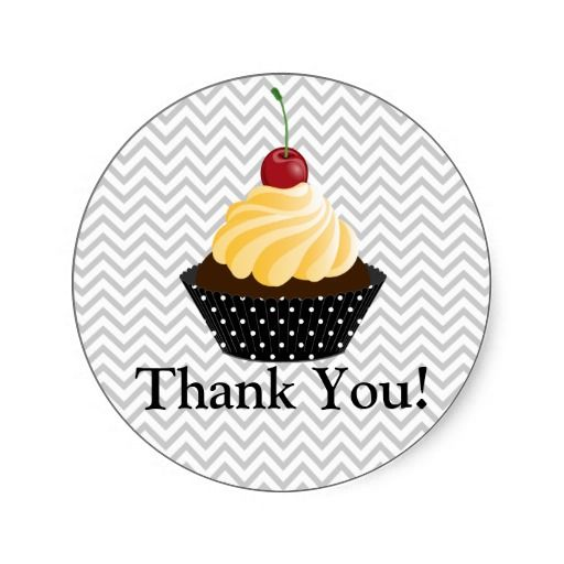 Couture Cupcake Bakery Thank You Round Sticker