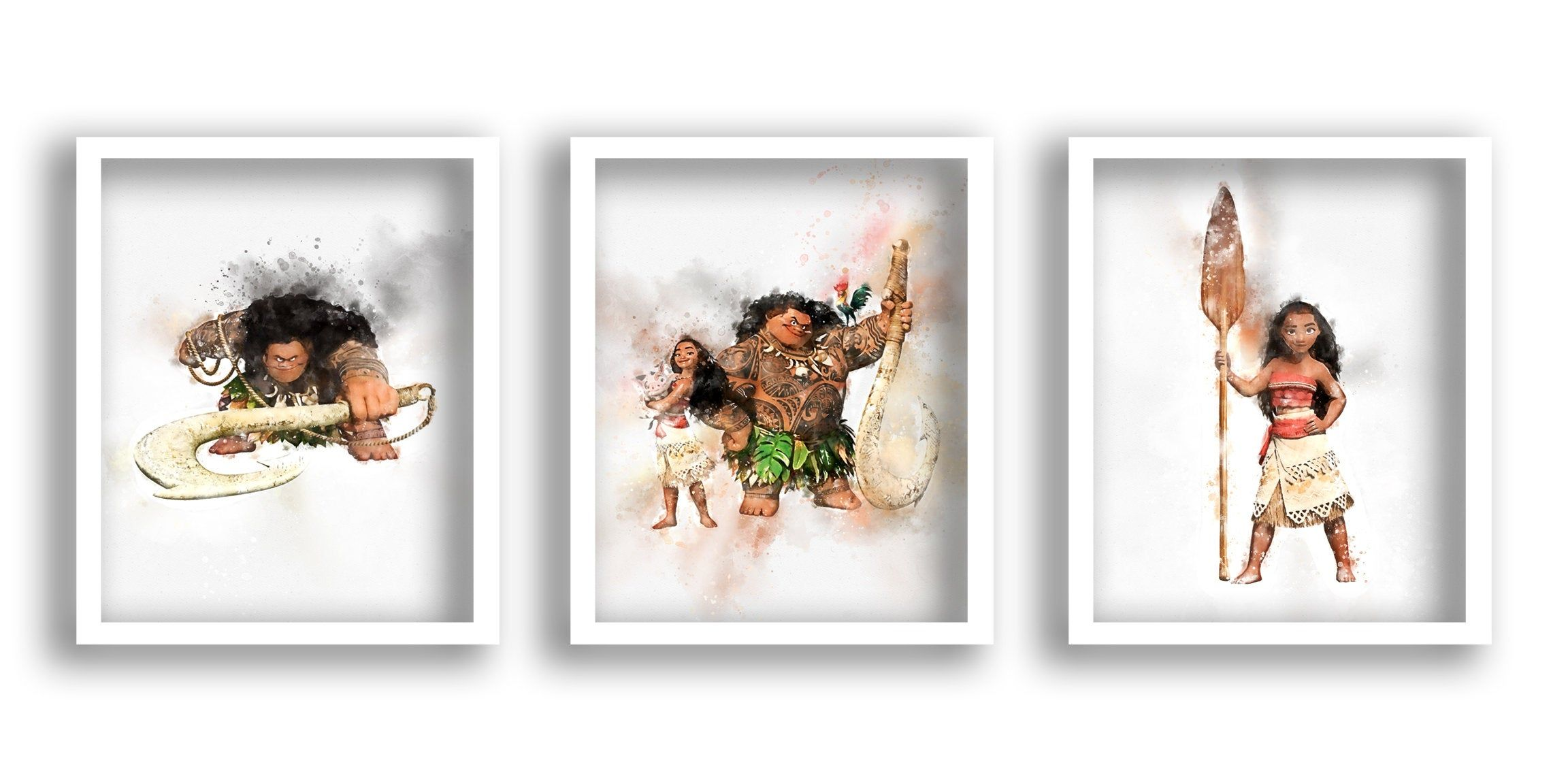 Set Of 3 Moana Prints Moana Poster Moana Watercolor Set Moana