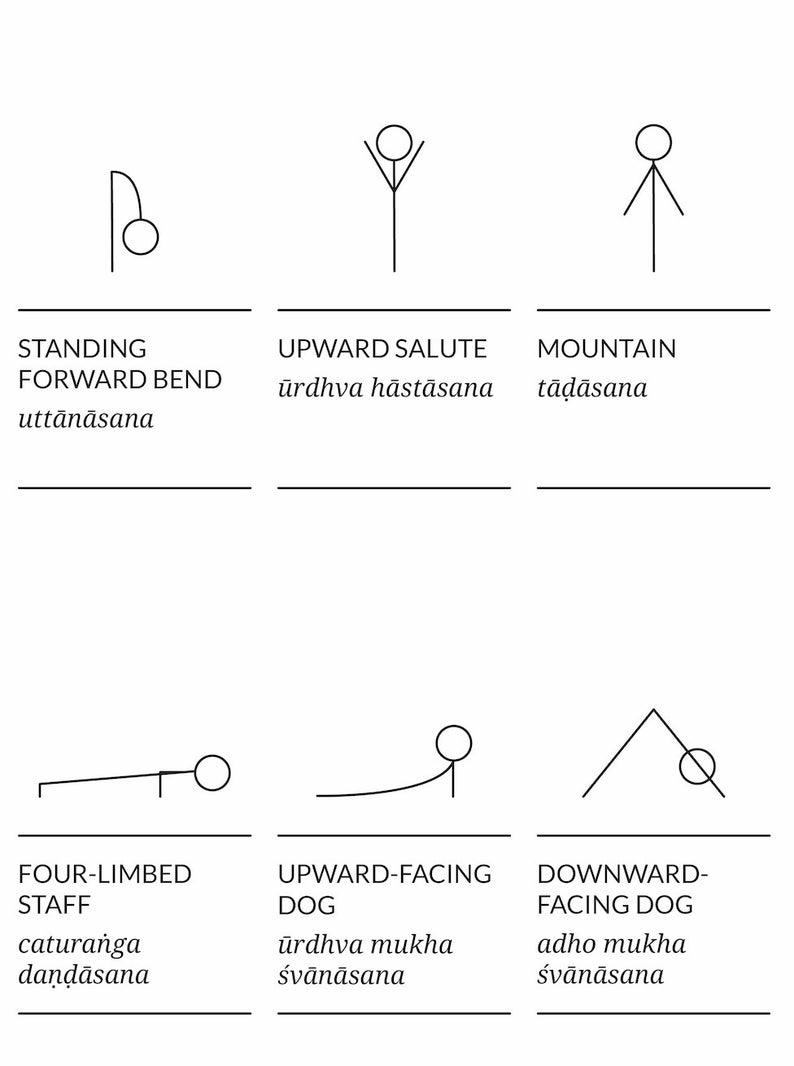 Printable Yoga Poster Sanskrit Yoga Poses with Stick Figures ...