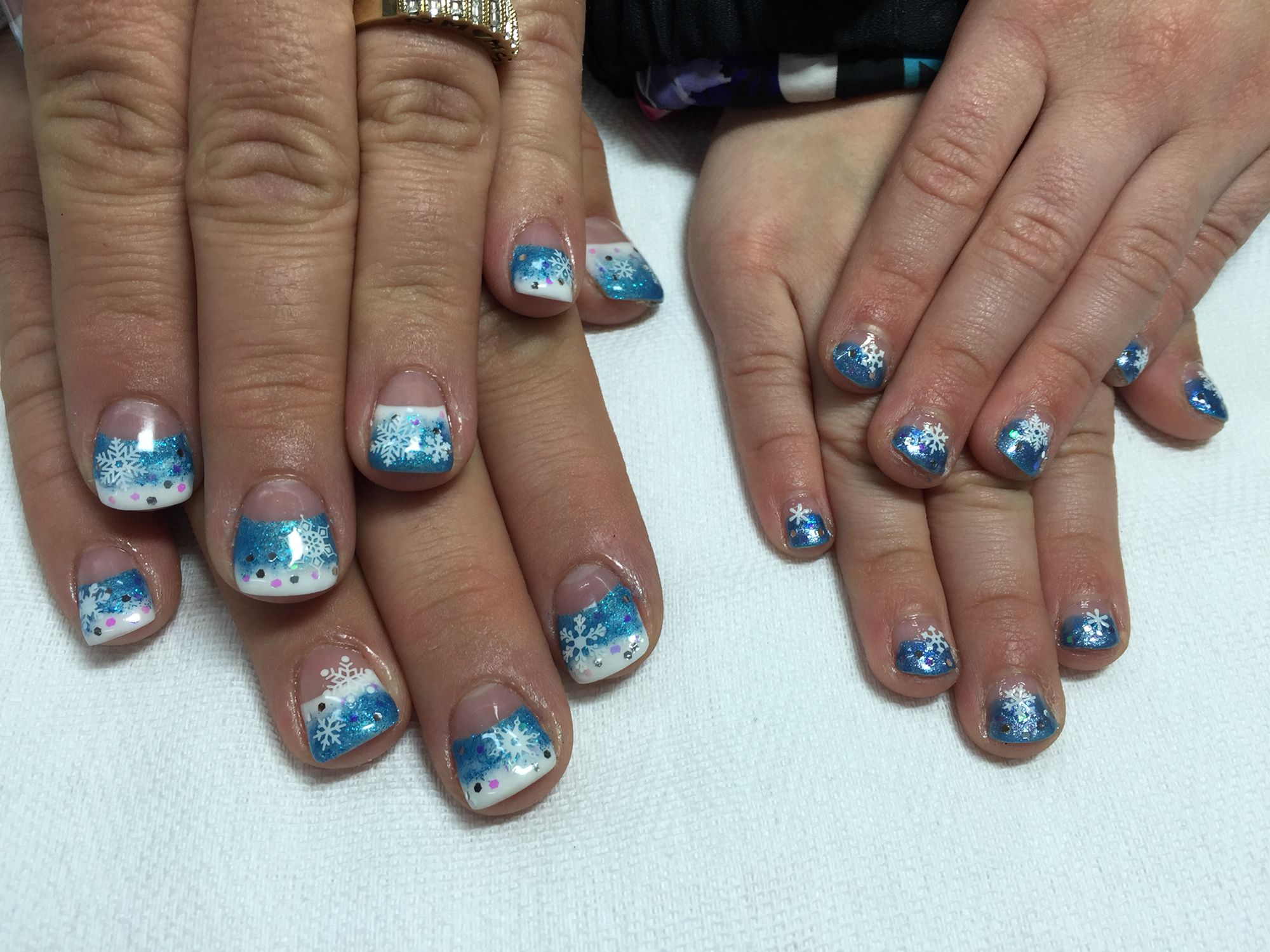 Mother daughter frozen nail art. Moms are done with gel while her ...